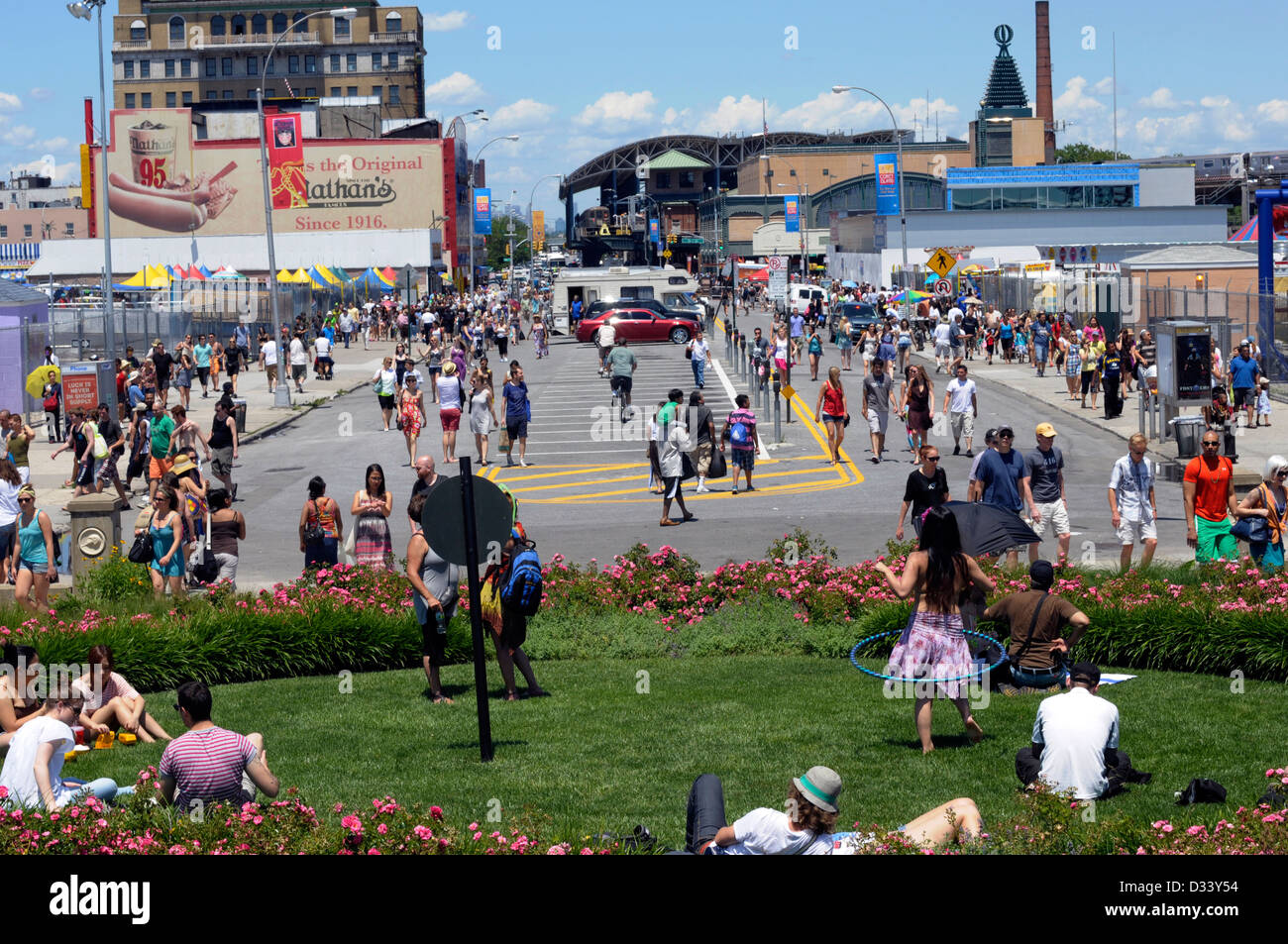 Crowds pour into Coney Island on a hot summer's day in New York City, America. Stock Photo