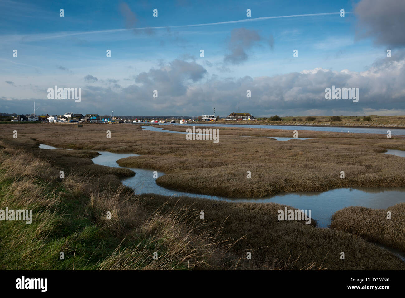 Tidal marshes at Rye Harbour, East Sussex Stock Photo