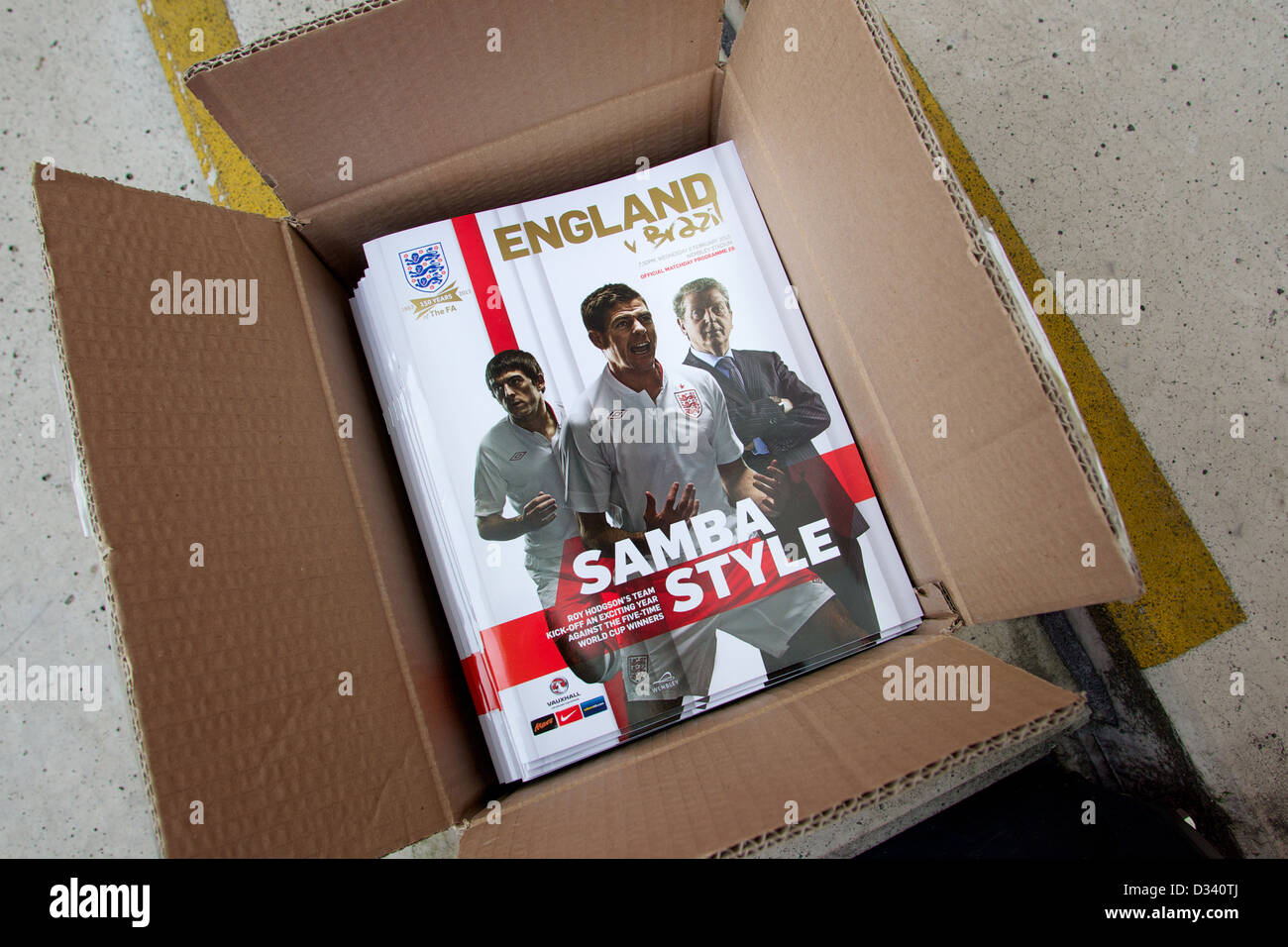 Box of match programmes ready to be sold to fans - Stock Image