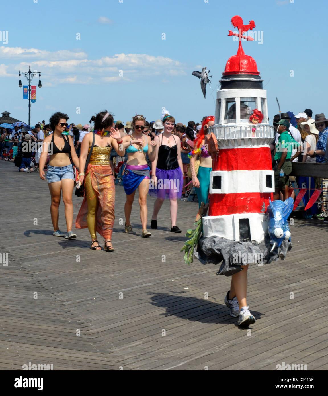 Coney Island Mermaid Parade, photographed: Best Sea Creature: Lighthouse. Stock Photo
