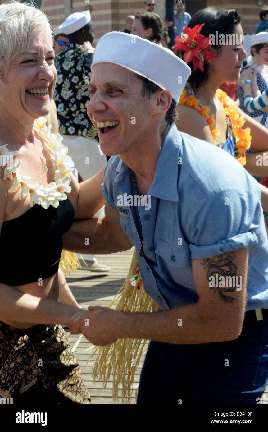 Coney Island Mermaid Parade:  Photographed The Best Marching Group; The Brooklyn Bombshells. Stock Photo