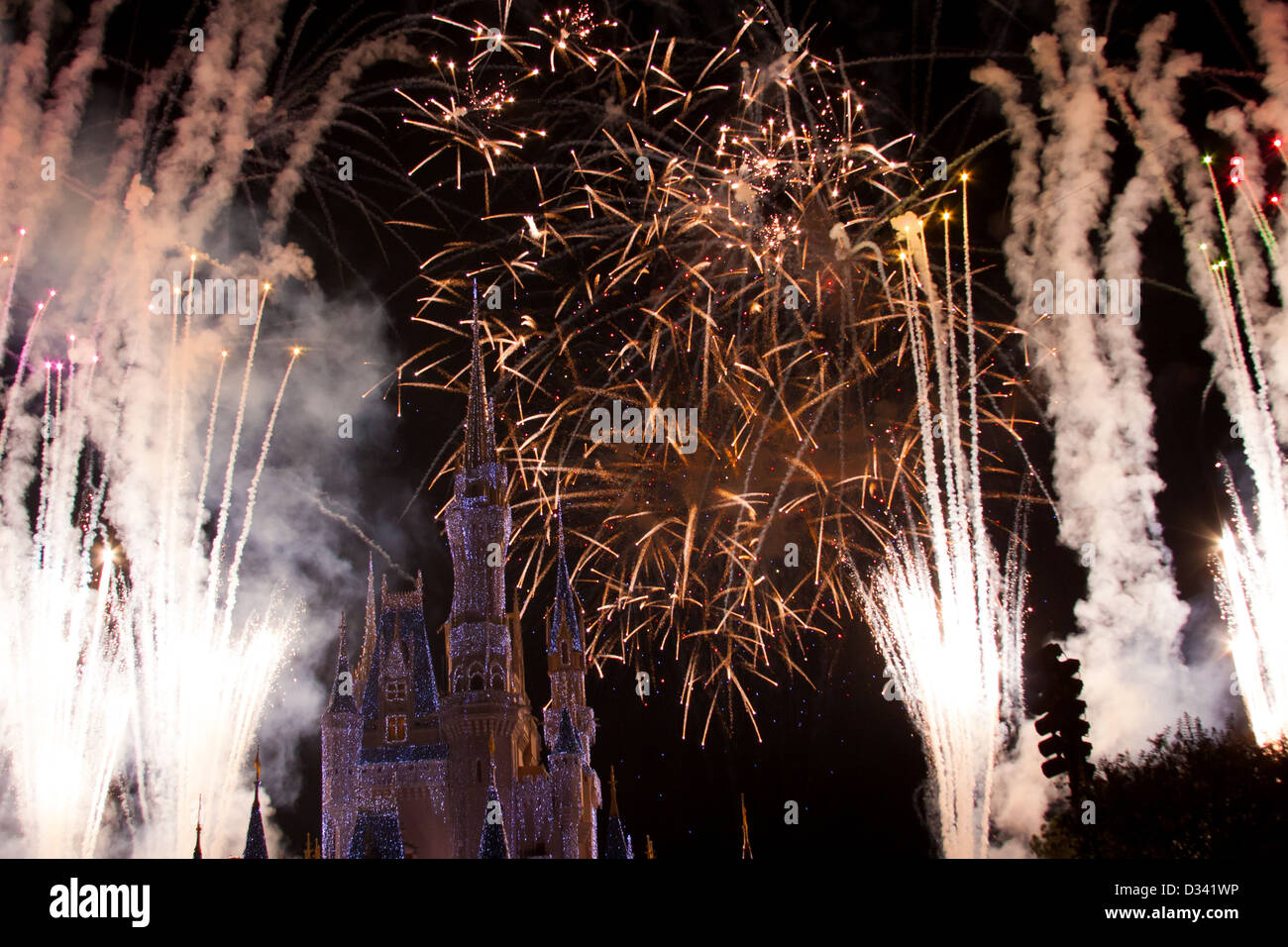 Disney World Castle At Night With Lights And Fireworks Stock Photo