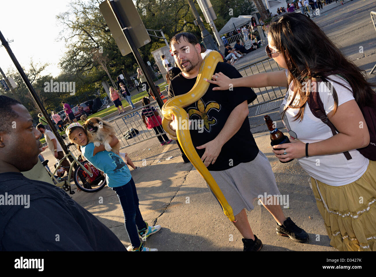 albino python owner rampart street new orleans - Stock Image