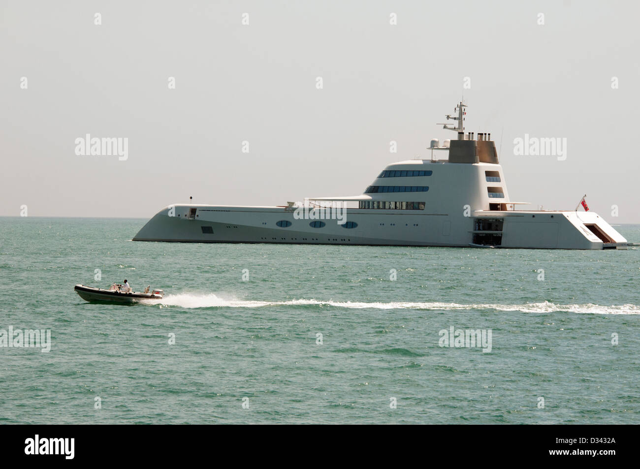 Russian Billionaire Andrey Melnichenko's 394-foot 'A' yacht is one of the most luxurious on the planet, - Stock Image