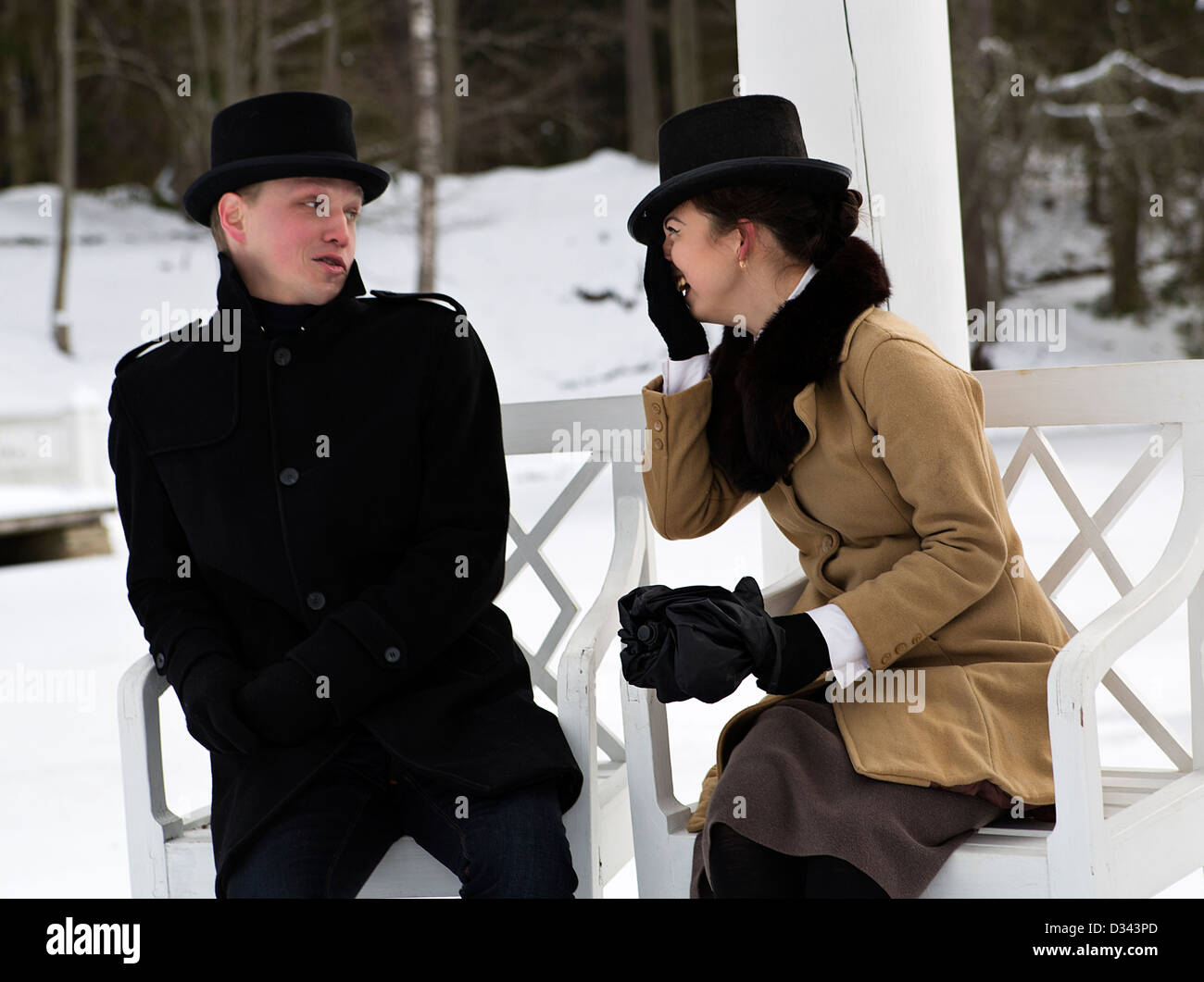 Man and woman exchange some opinion about something - Stock Image