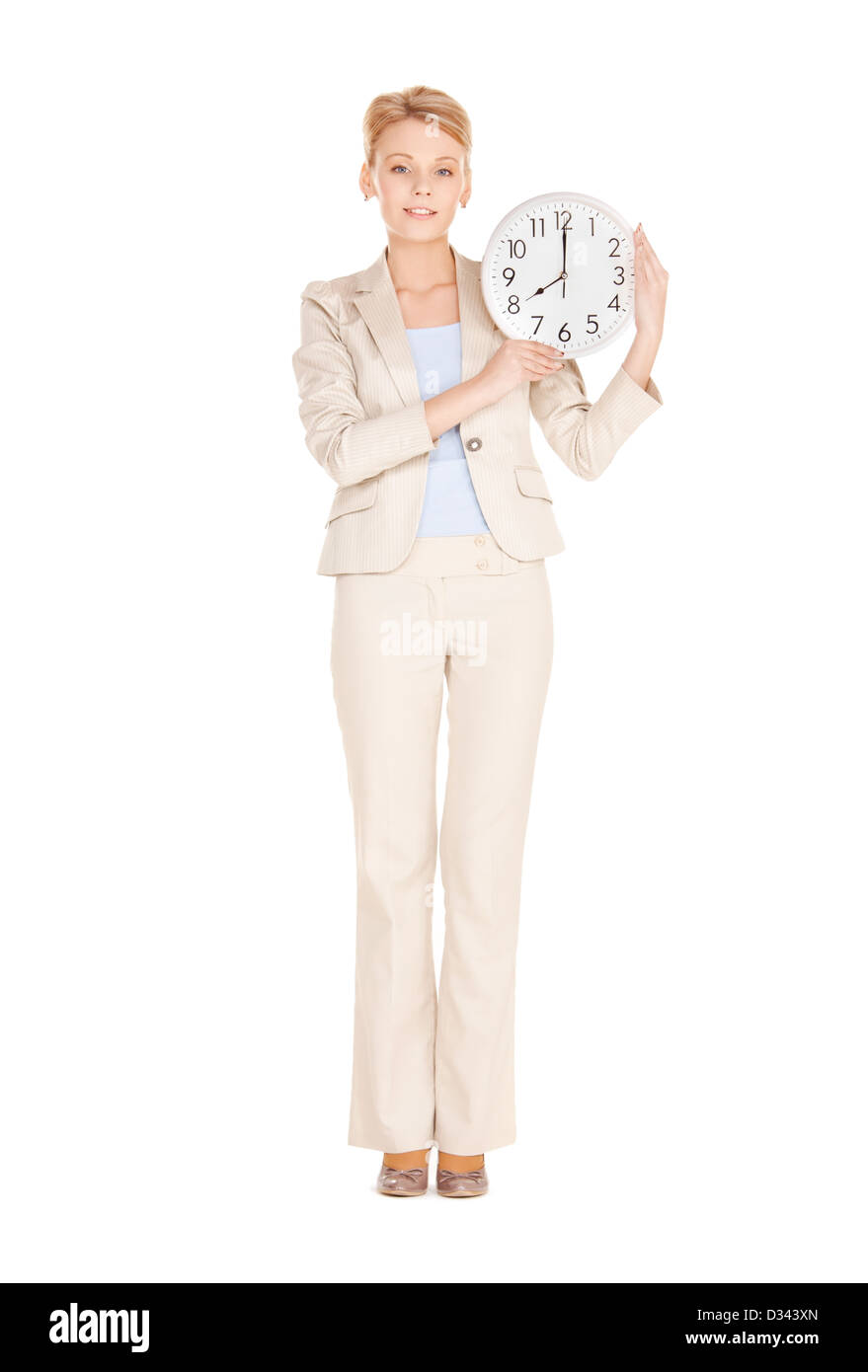 woman holding big clock - Stock Image