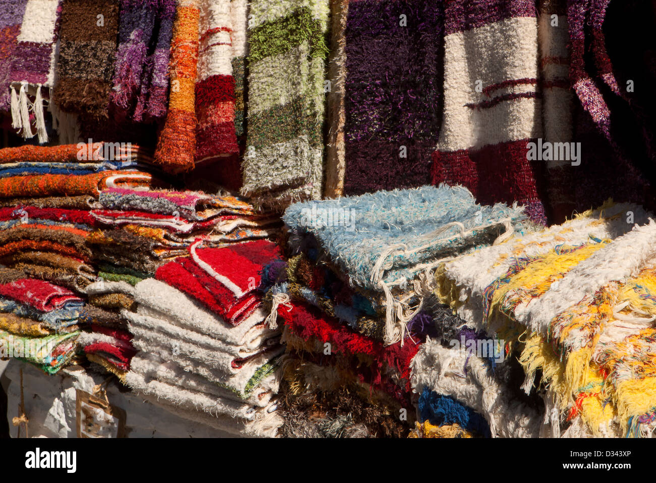 Carpets , rugs and blankets. - Stock Image