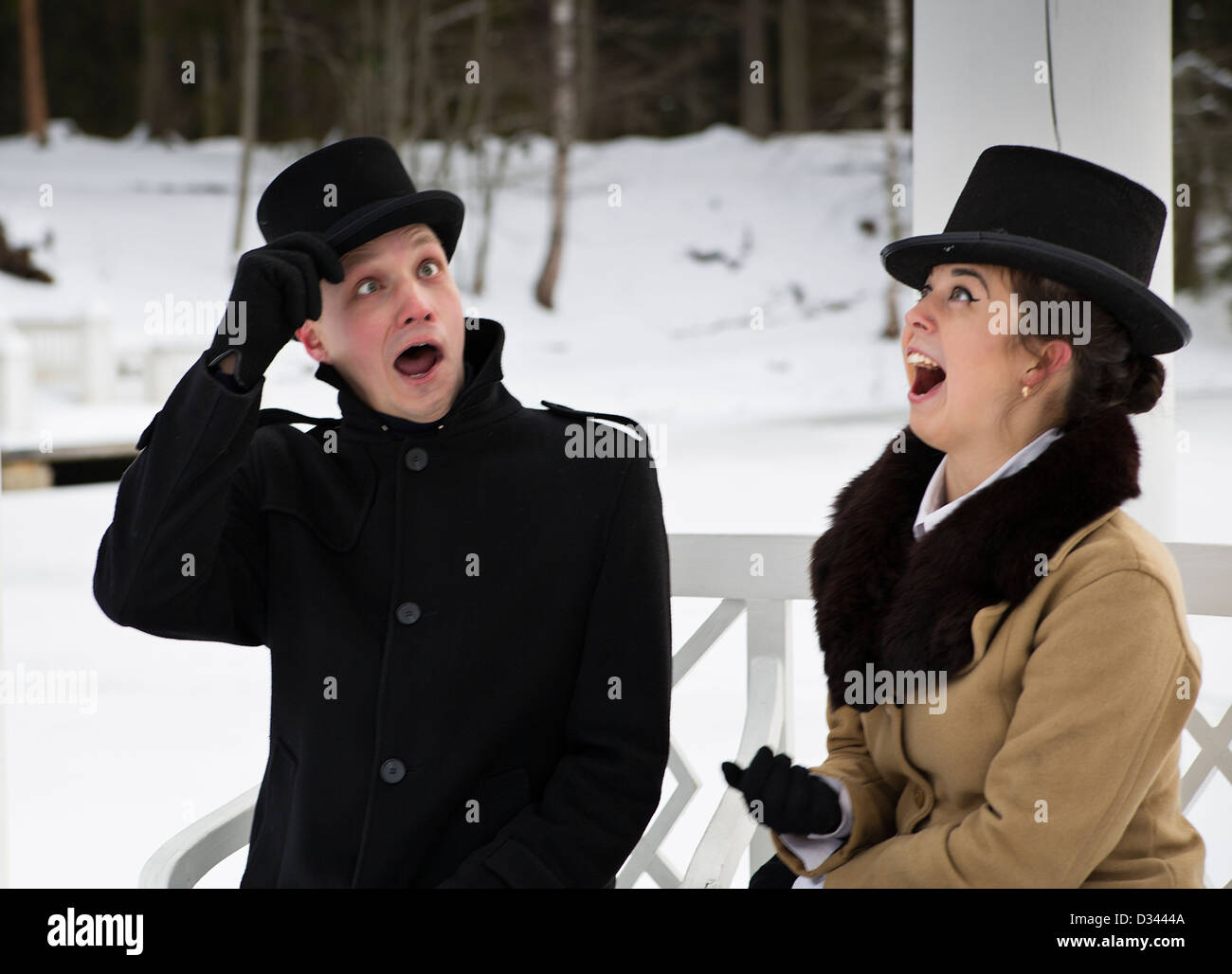 Man and woman surprise when something happened unpredictable - Stock Image