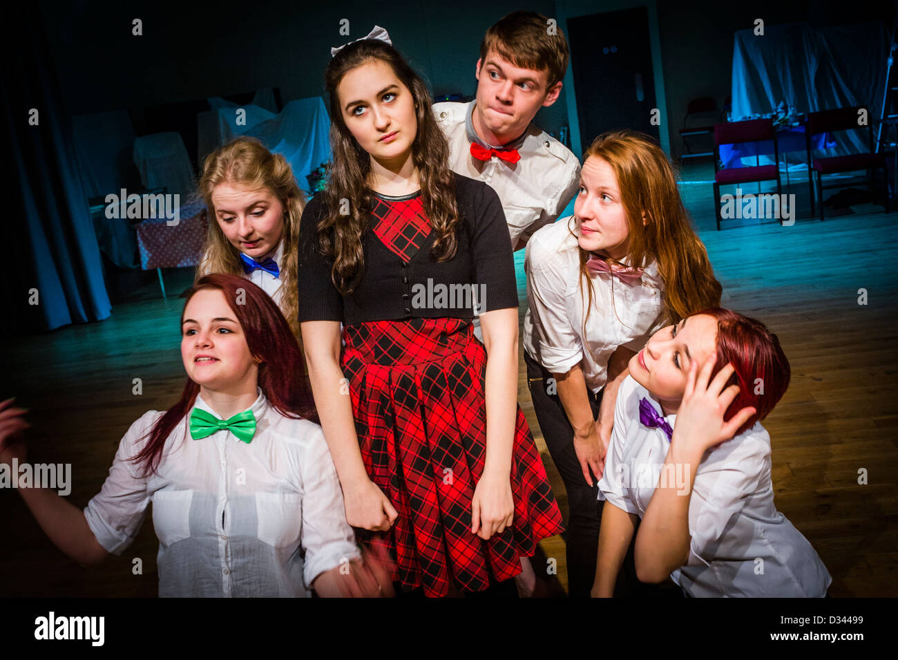 University students rehearsing Laura Wade's 'Alice', a version of Lewis Carrol's 'Alice's - Stock Image
