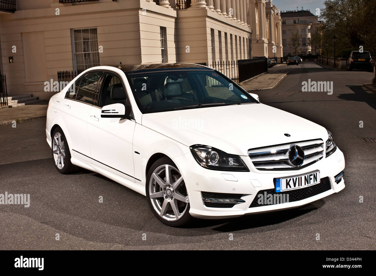 White Mercedes C Class Diesel parked on London street, UK ...