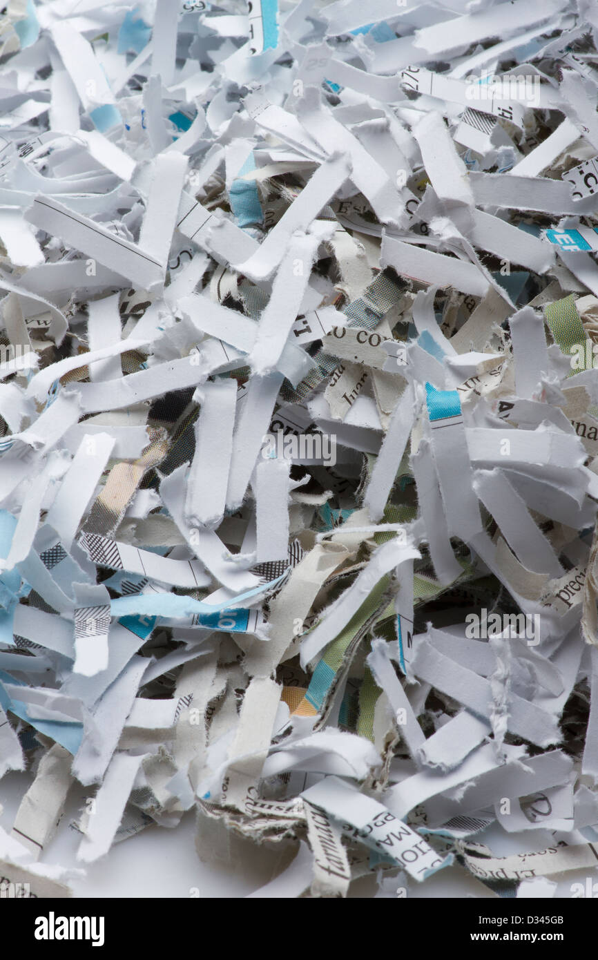 Shredded paper. Pile of shredded paper - Stock Image
