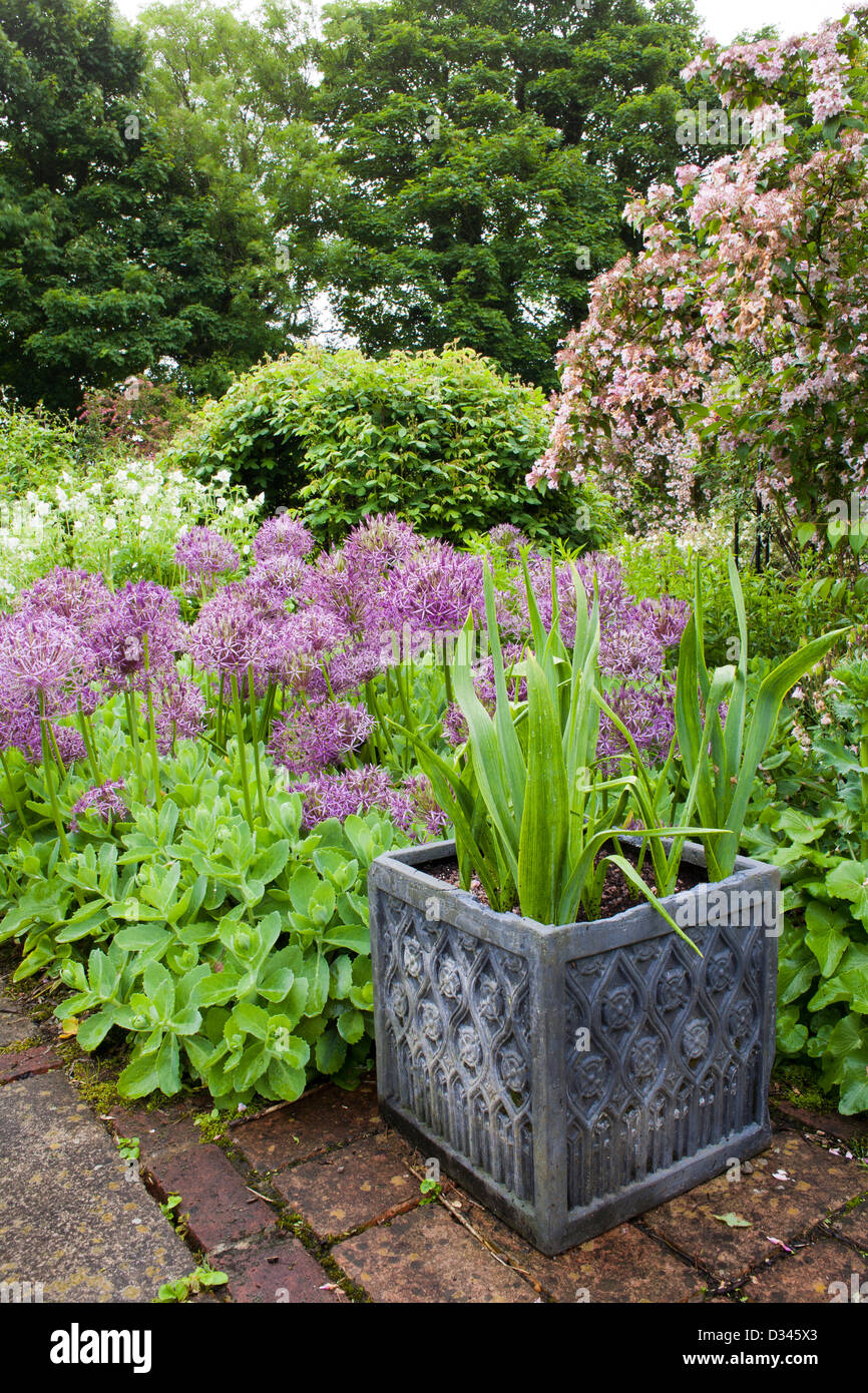 Decorative container with planting surrounded with spring borders of perennials and bulbs. Stock Photo