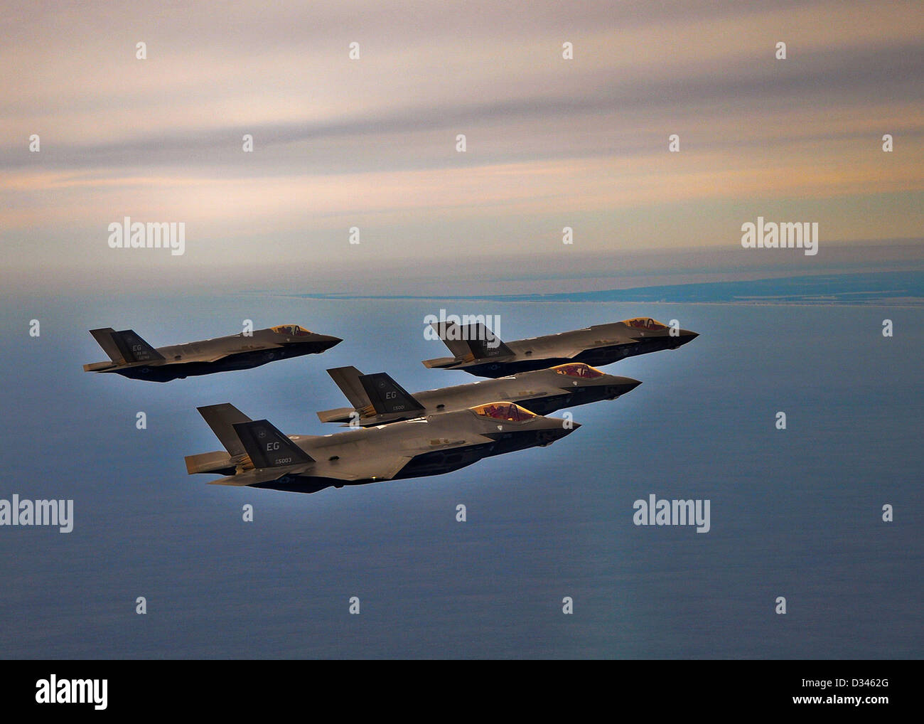 US Air Force F-35 Joint Strike Fighter formation returns after a training sortie February 1, 2013 to Eglin Air Force - Stock Image