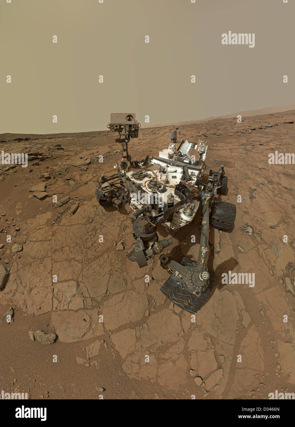 Self portrait of NASA's Mars rover Curiosity created by combining dozens of exposures taken by the rover's - Stock Image