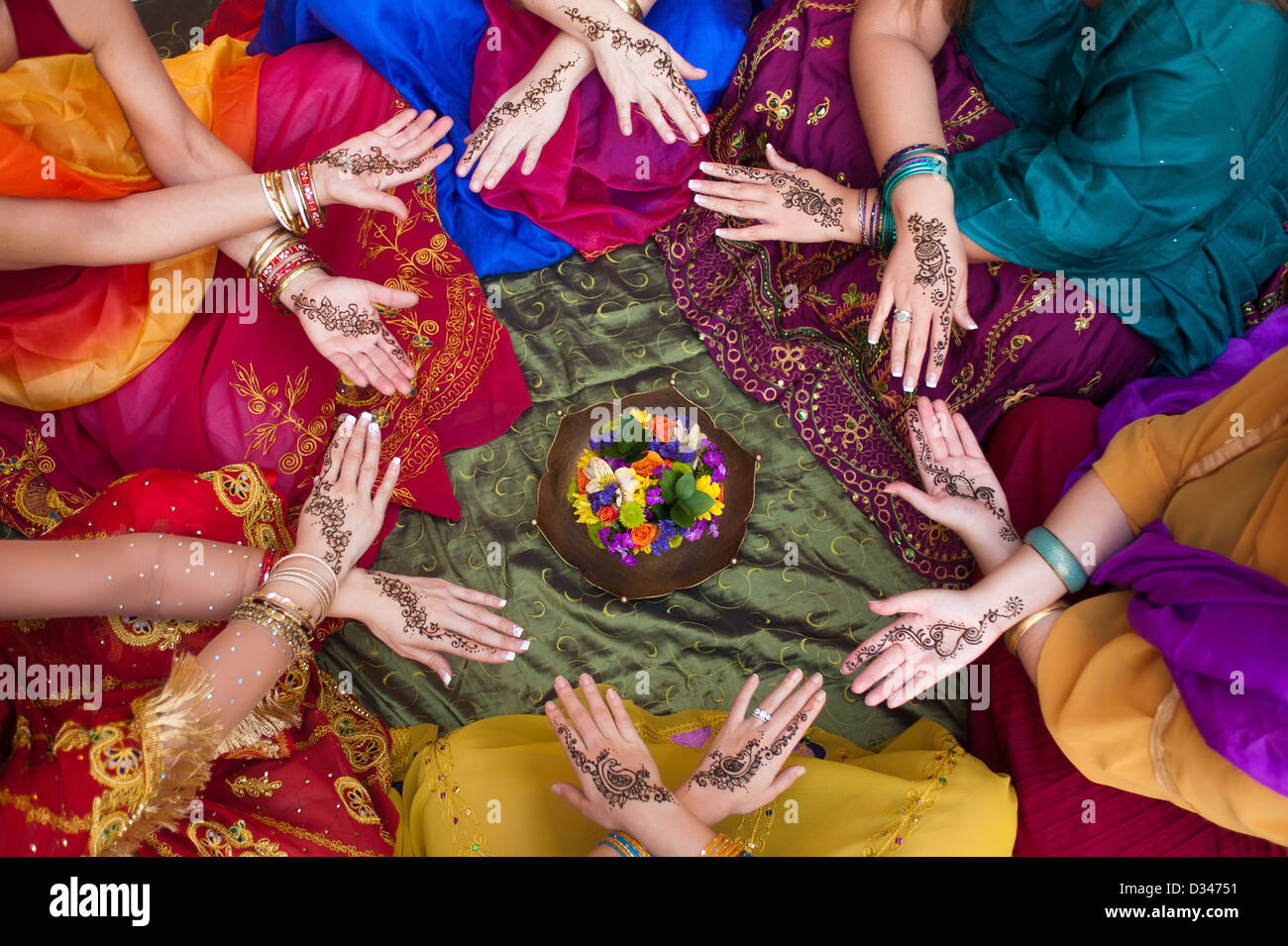 Henna Decorated Hands Arranged in a Circle - Stock Image