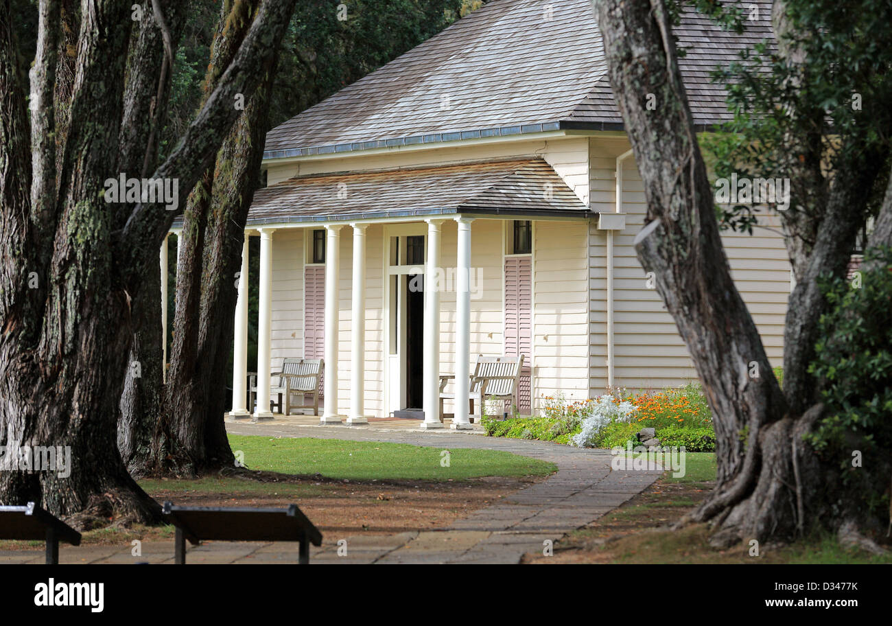 The treaty house at the Waitangi Treaty Grounds in Waitangi - Stock Image