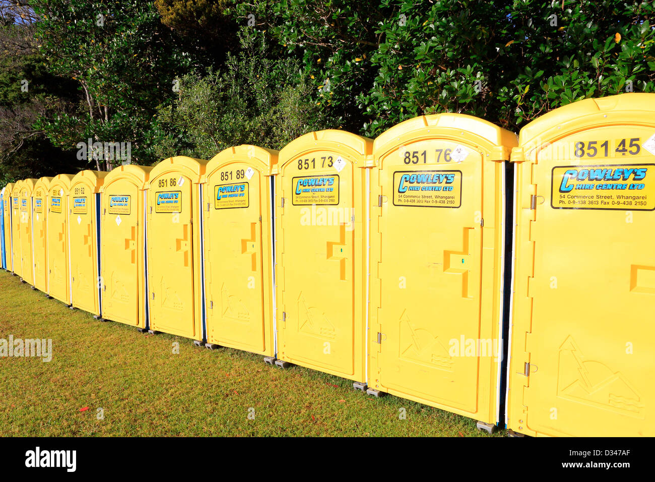 Portaloo portable toilets set up for public event. - Stock Image