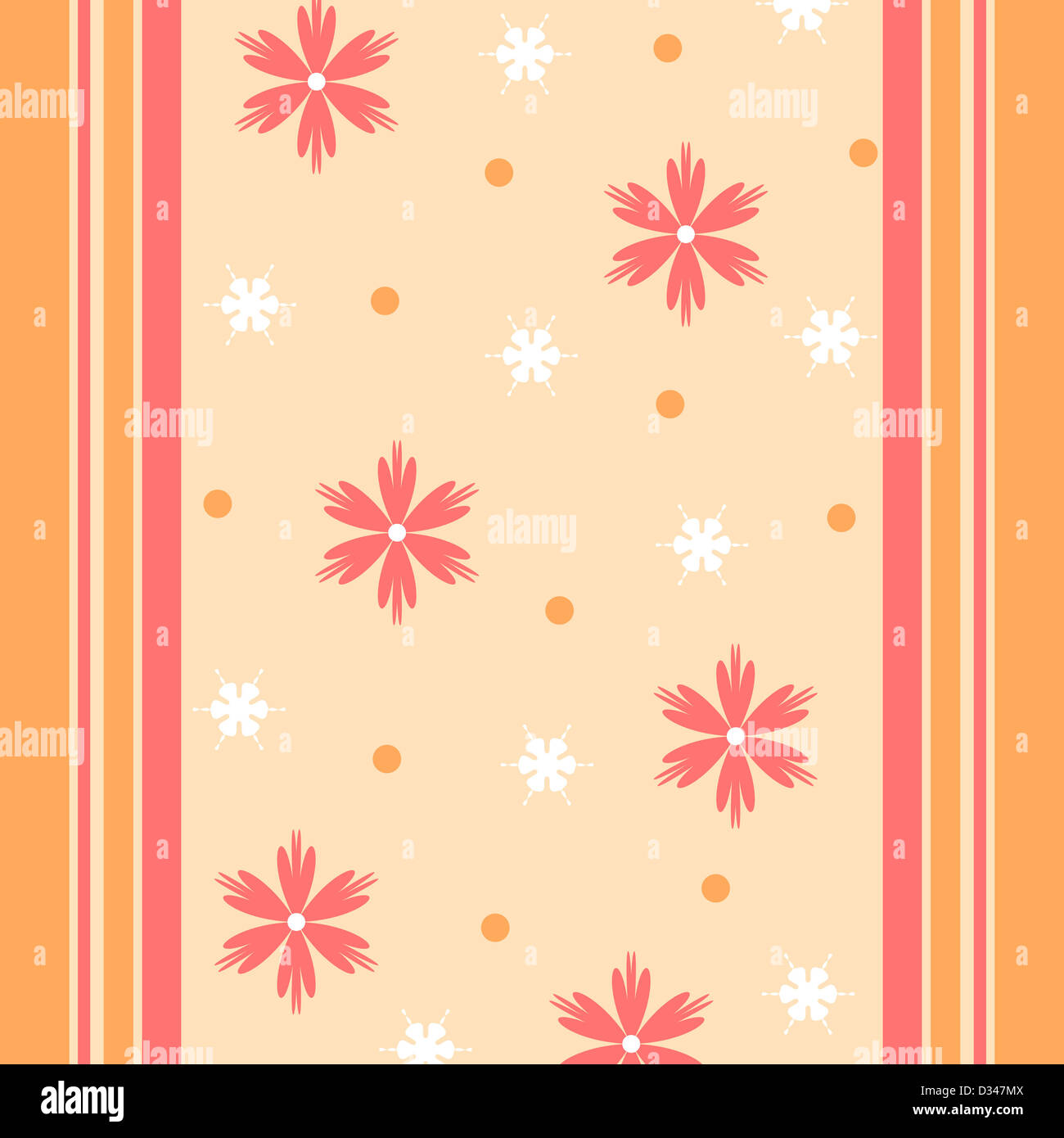 Artistic flowers and stripes pattern in orange and yellow colors Stock Photo