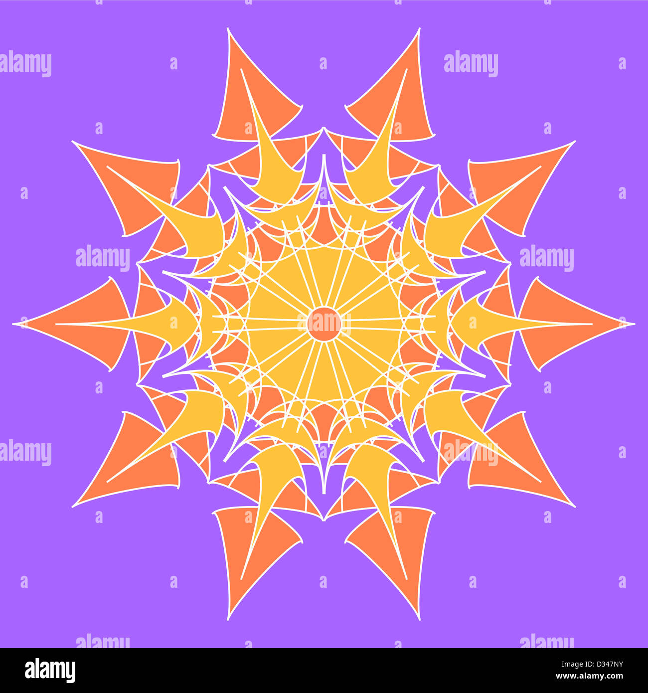 Yellow and orange artistic star on violet Stock Photo