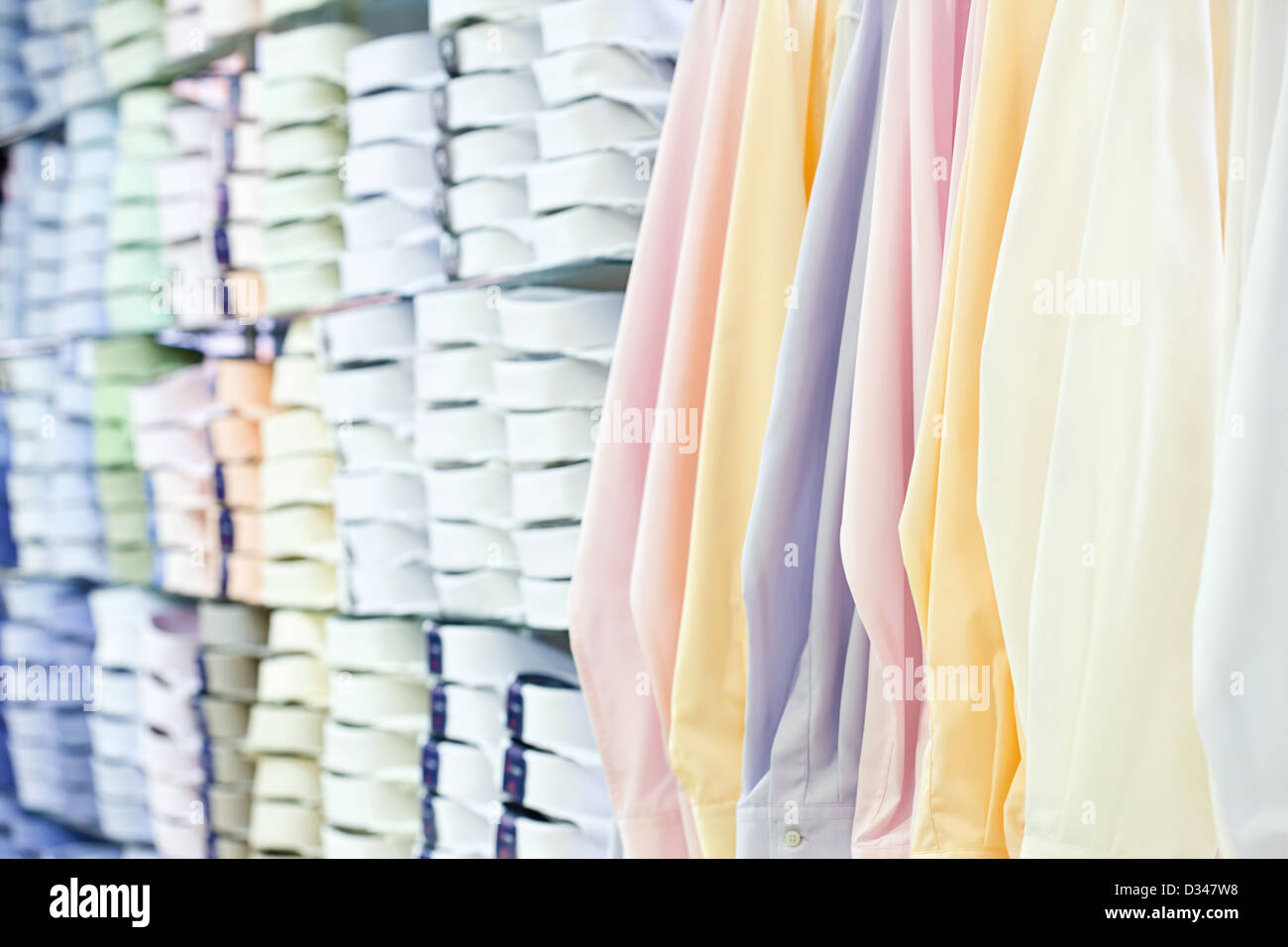 mens wear store, business clothing - shirts - Stock Image