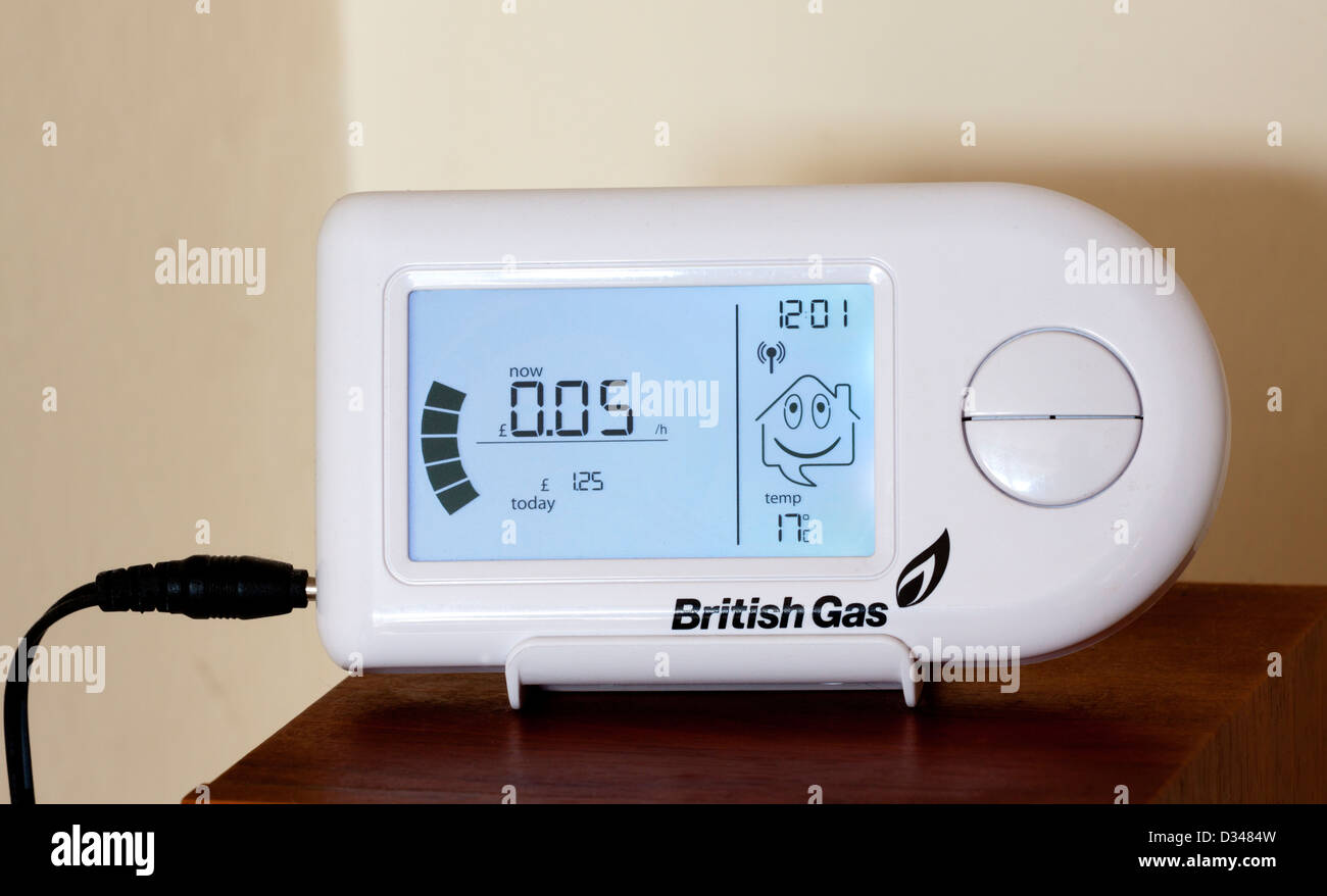 British Gas domestic energy monitor used to show electricity consumption in the home and reduce bills for customers - Stock Image