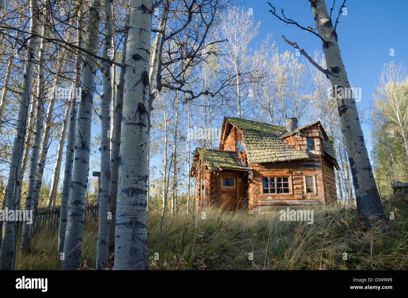 Unique log cabin,  83 Mile House, Cariboo Region, British Columbia, Canada - Stock Image