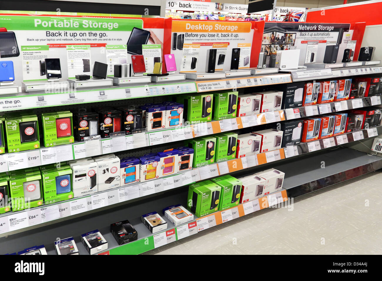 Portable, Desktop And Network Storage Hard Drives On Sale In Shop Stock Photo