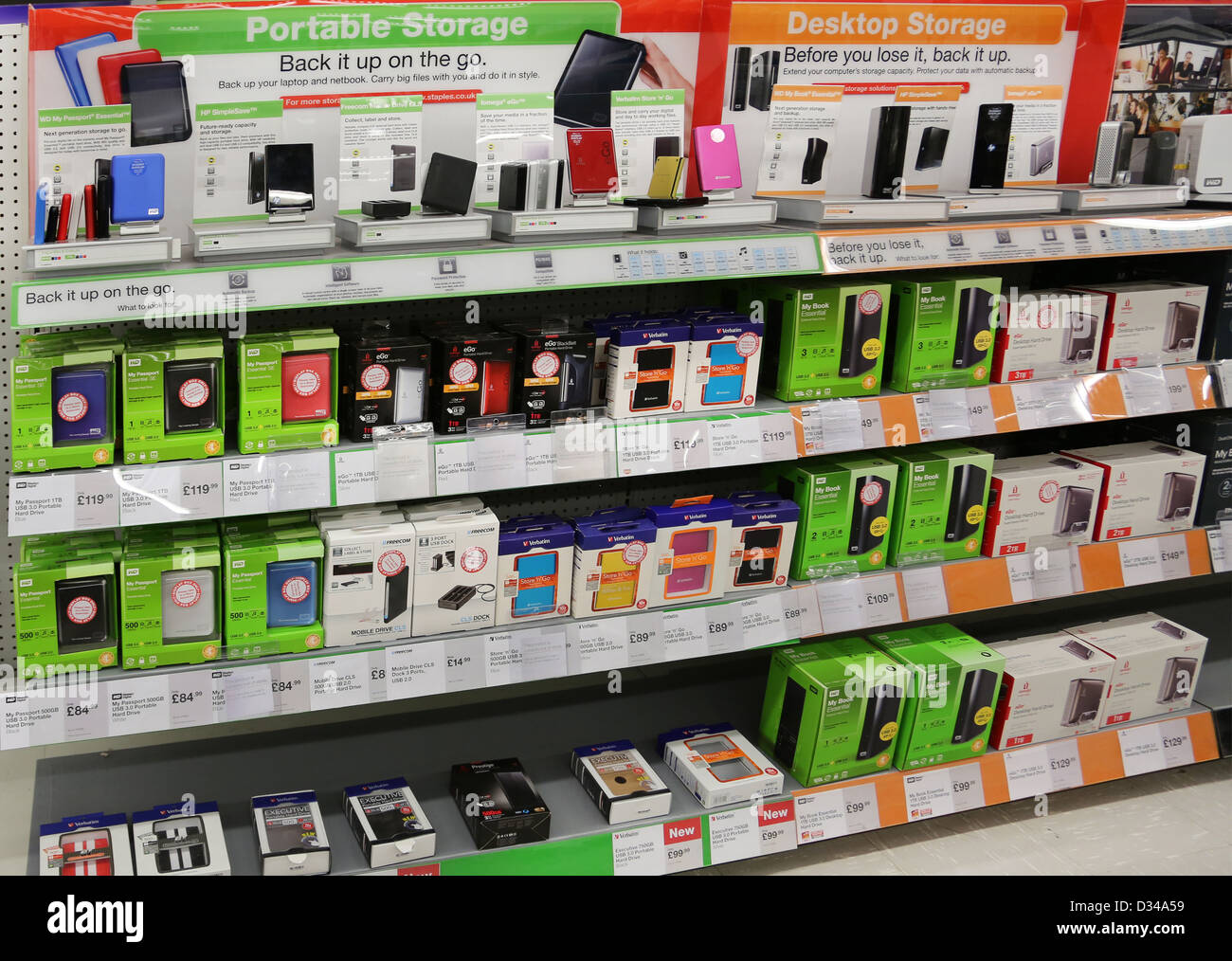 Portable Storage And Desktop Storage Hard Drives On Sale In Shop - Stock Image