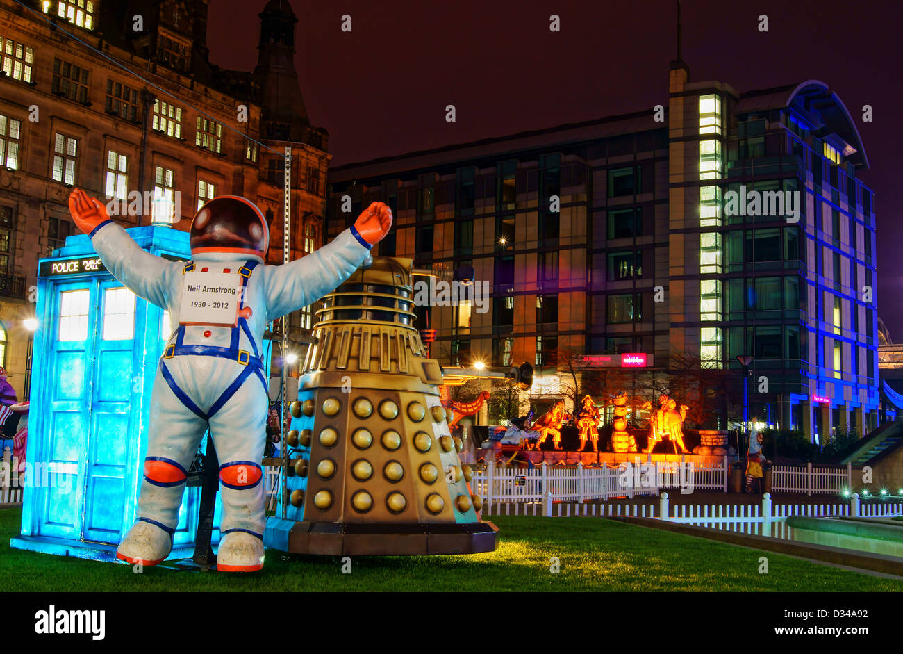 Christmas Illuminations in the Peace Gardens,Sheffield,South Stock ...