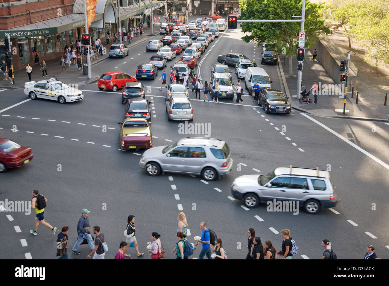 traffic congestion in sydney city centre - Stock Image