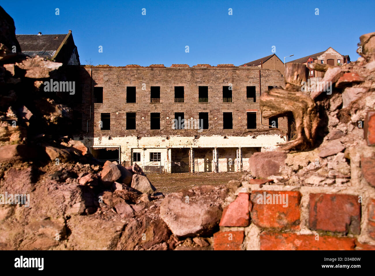 The derelict William Halley & Sons Ltd Jute Mill was built in 1836 and is now a Listed Building in Dundee,UK - Stock Image