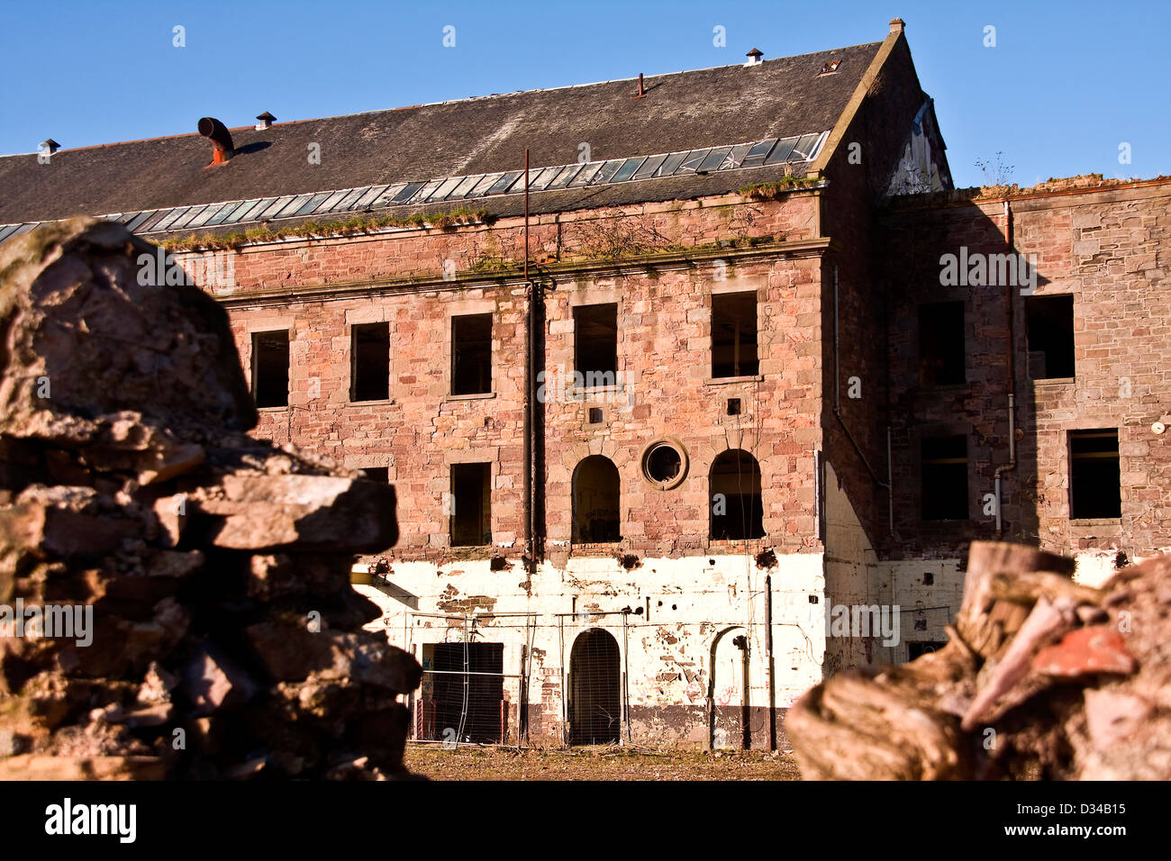 Derelict and a Listed Building the Dundee Jute Mill was built in 1836 and owned by William Halley & Sons Ltd,UK Stock Photo