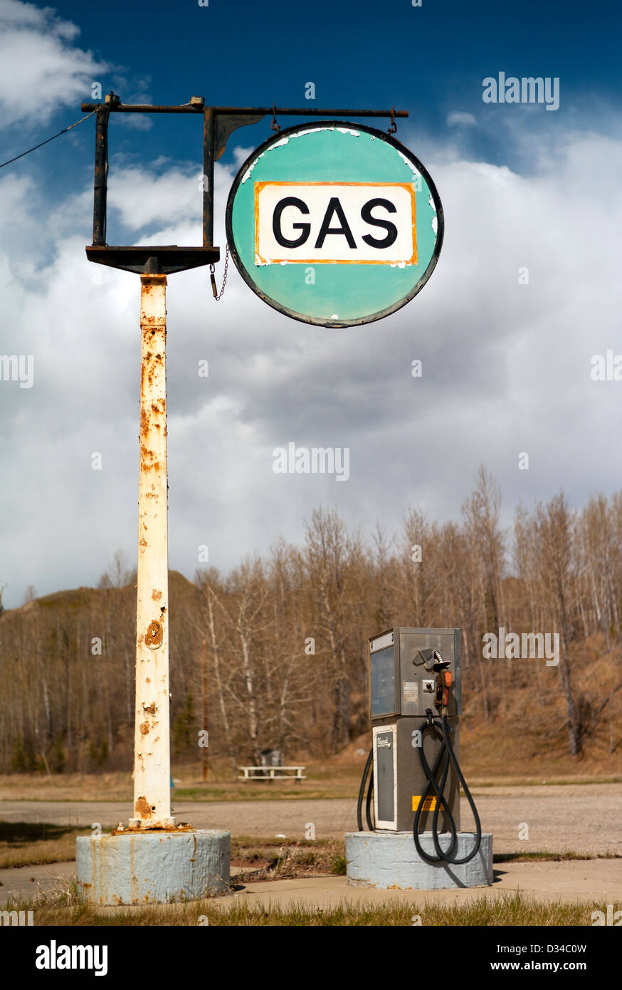 The old gas station on highway 97 in British Columbia is closed, but