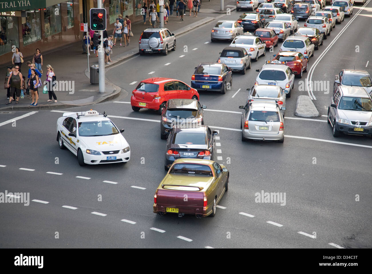 traffic congestion pitt street,hay street in sydney cbd Stock Photo