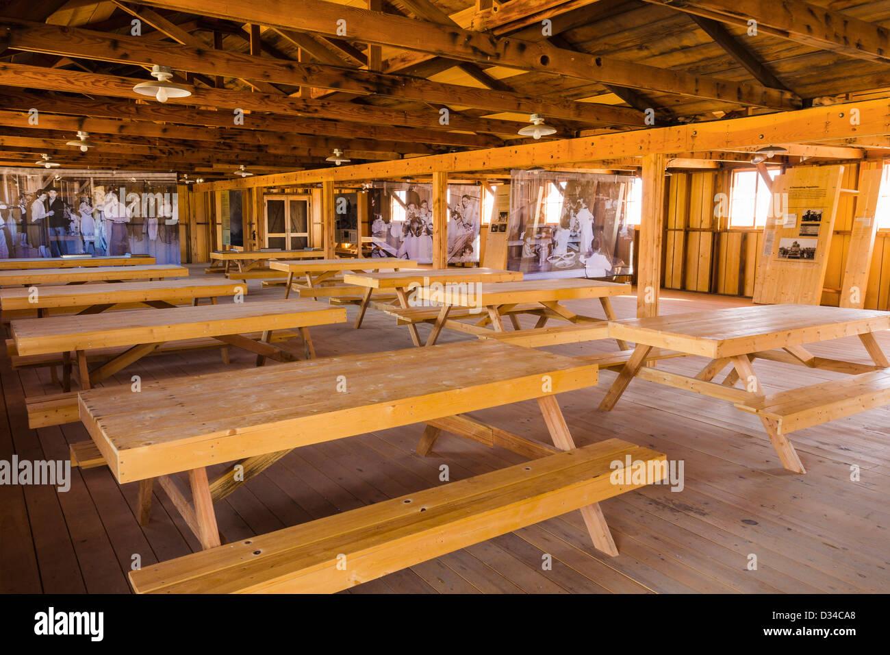 Mess hall interior at Manzanar National Historic Site, Lone Pine, California USA - Stock Image
