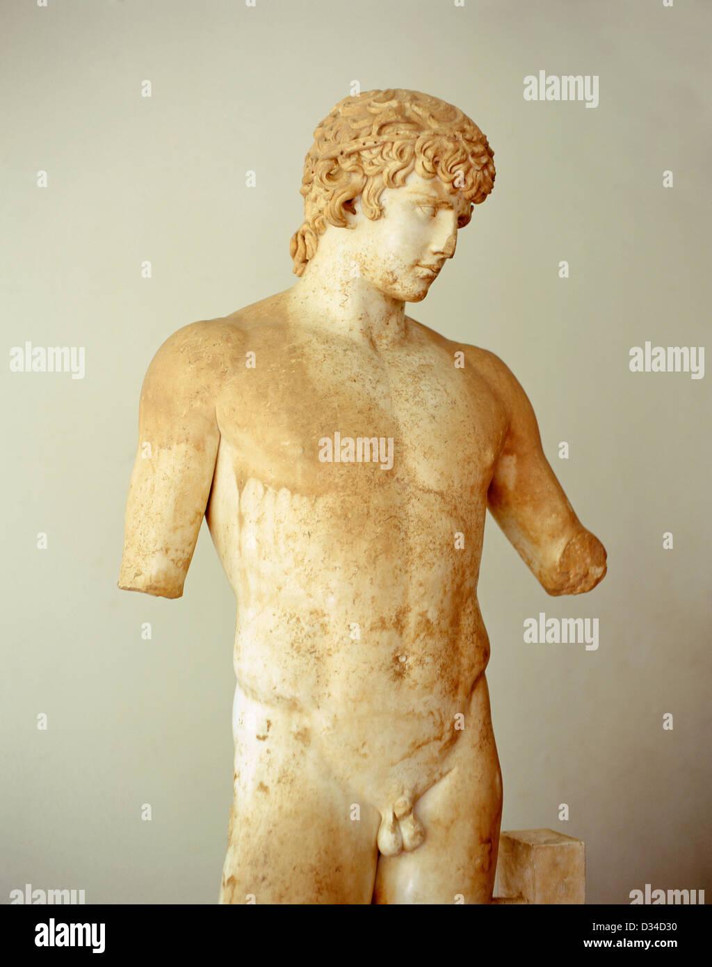 Antinous marble statue (128BC) in Delphi Archaeological Museum, Delphi, Mount Parnassus, Central Greece Region, - Stock Image