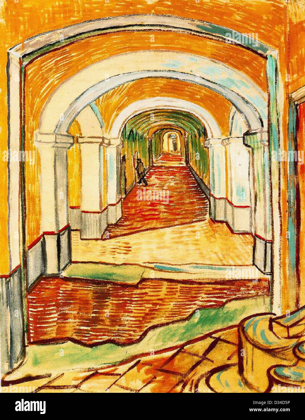 Vincent van Gogh, Corridor in the asylum. 1889. Post-Impressionism. Oil on canvas. Museum of Modern Art, New York, - Stock Image
