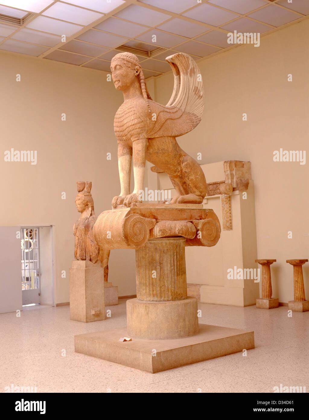 Ancient Greek sphinx (570BC) in Delphi Archaeological Museum, Delphi, Mount Parnassus, Central Greece Region, Greece - Stock Image