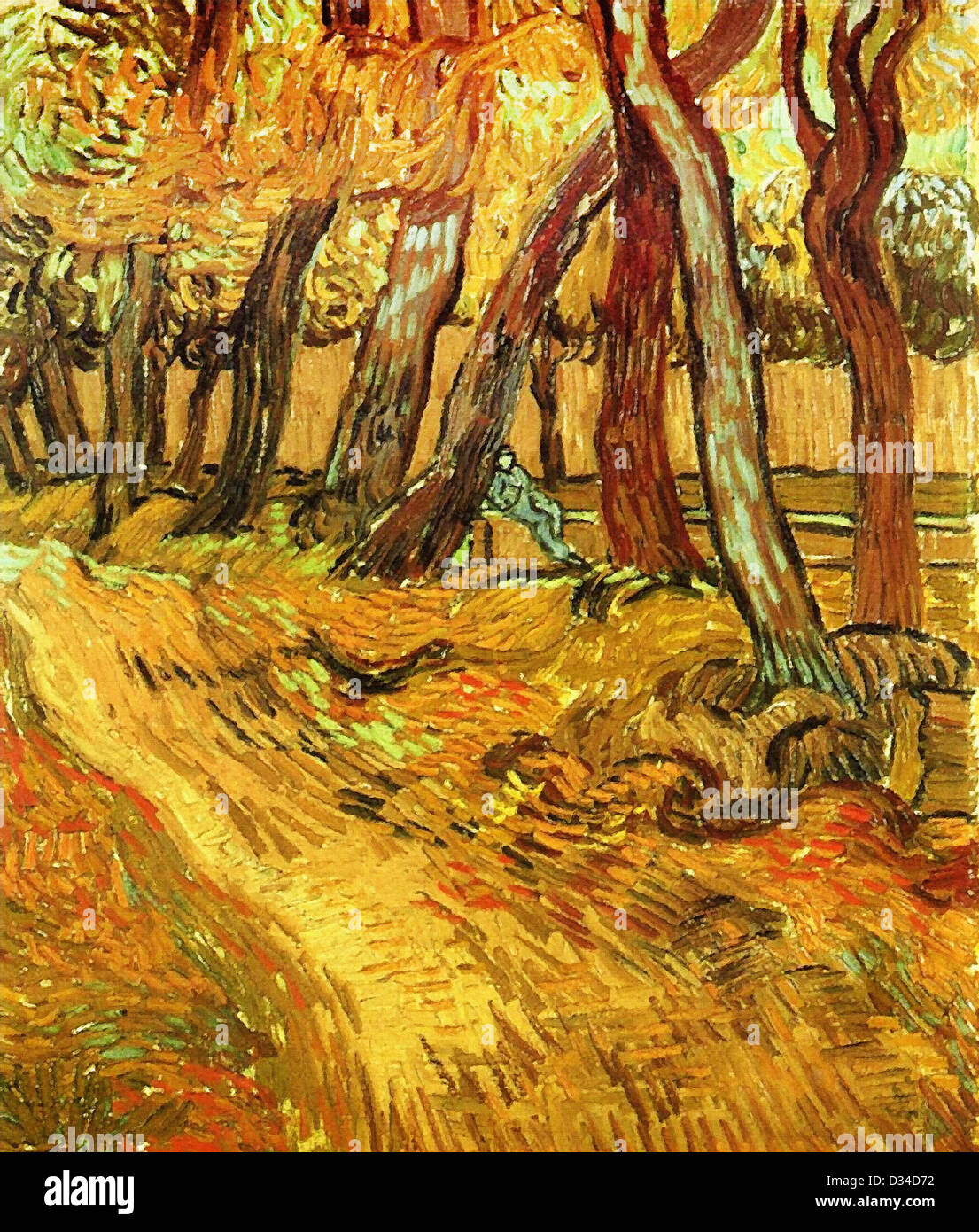Vincent van Gogh, The Garden of Saint-Paul Hospital with Figure. 1889. Post-Impressionism. Oil on canvas. - Stock Image