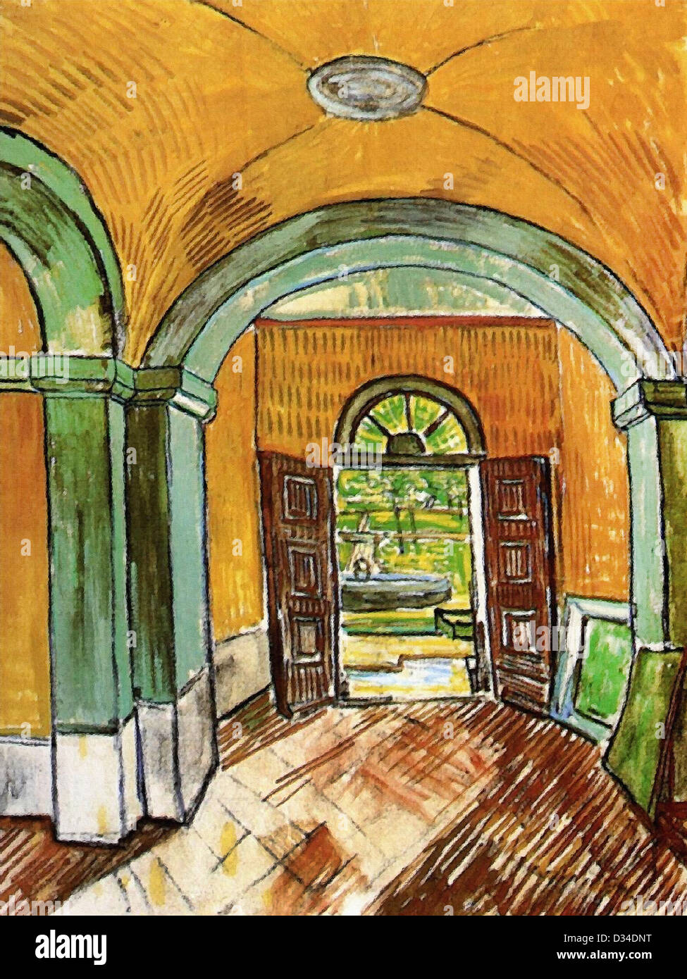 Vincent van Gogh, The Entrance Hall of Saint-Paul Hospital. 1889. Post-Impressionism. Oil on canvas. Van Gogh Museum, - Stock Image