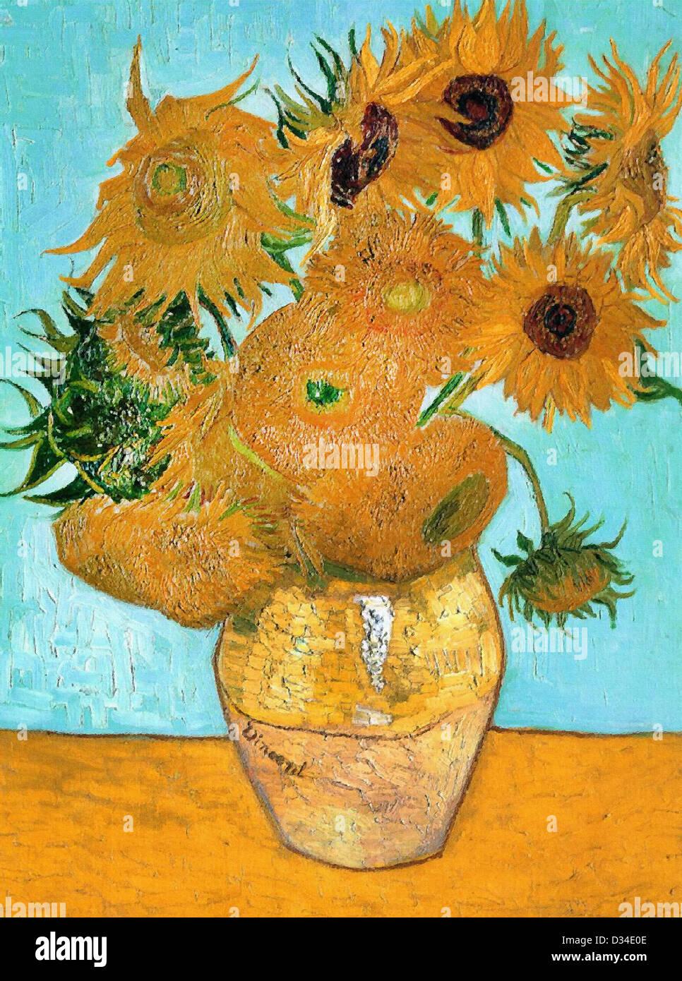 Vincent van Gogh, Still Life - Vase with Twelve Sunflowers. 1888. Post-Impressionism. Oil on canvas. - Stock Image