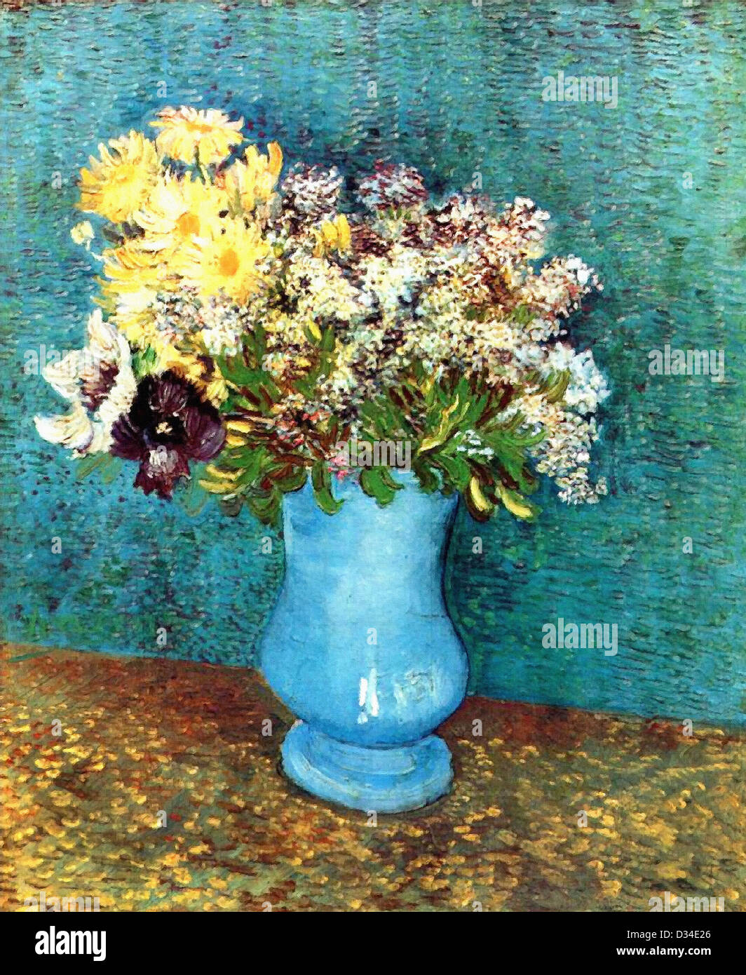 Vincent van Gogh: Vase with Flieder, Margerites and Anemones. 1887. Oil on canvas. Post-Impressionism. Private Collection. - Stock Image