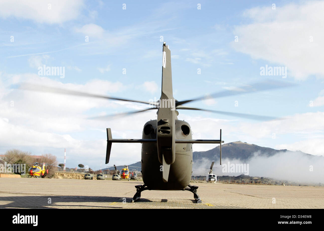 Rear view of military helicopter - Stock Image