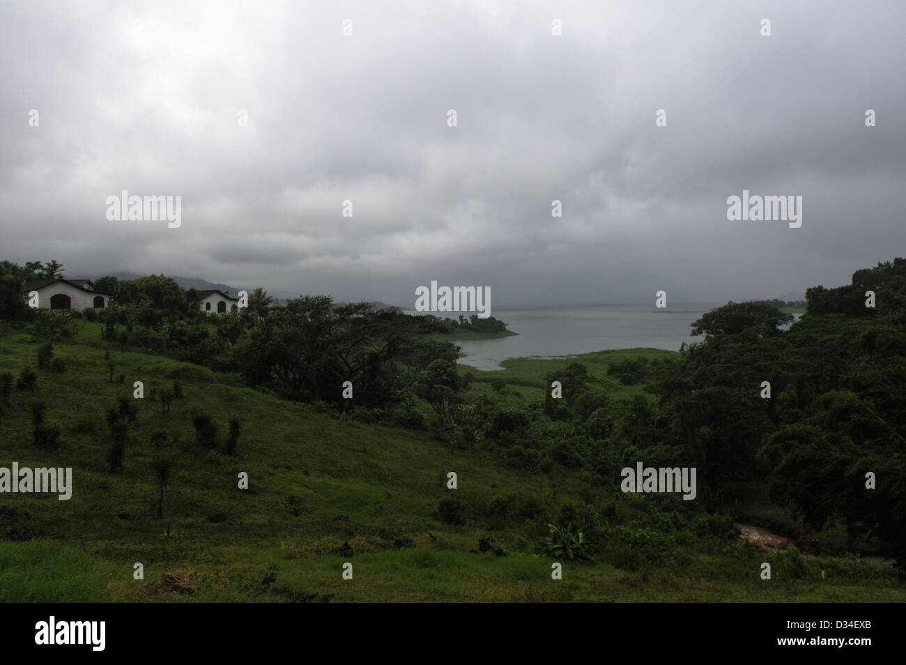 Lake Arenal covered with heavy rain clouds. Costa Rica. - Stock Image