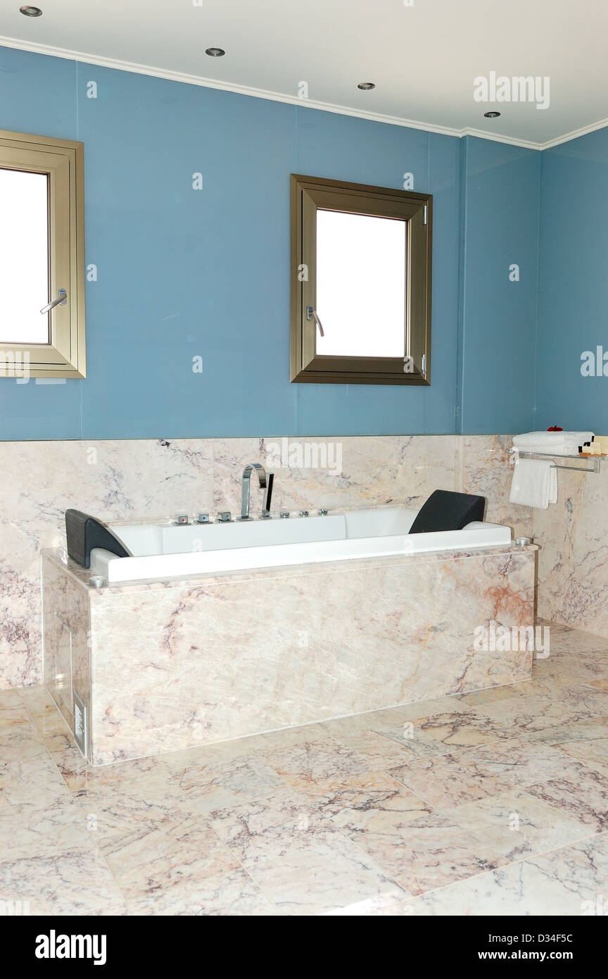 Marble bathroom in the luxury villa, Crete, Greece Stock Photo ...