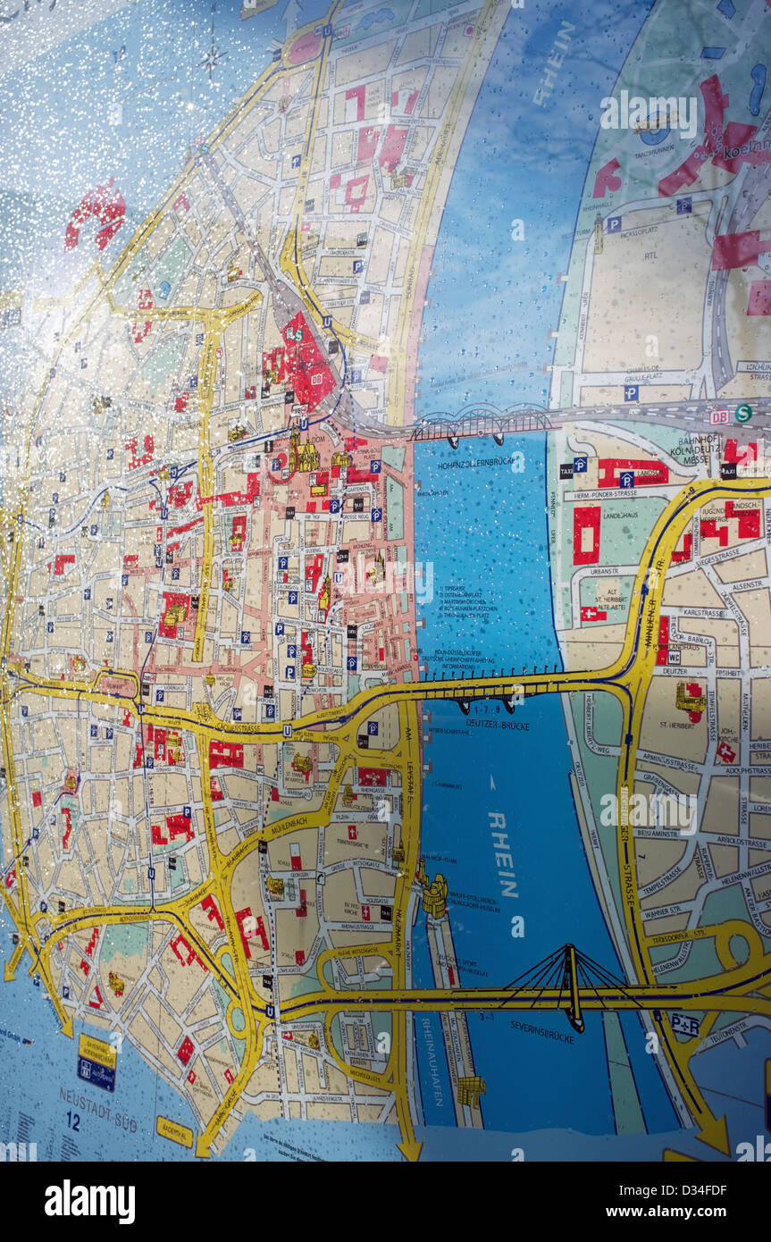 Street Map Of Cologne Germany Stock Photo 53575019 Alamy