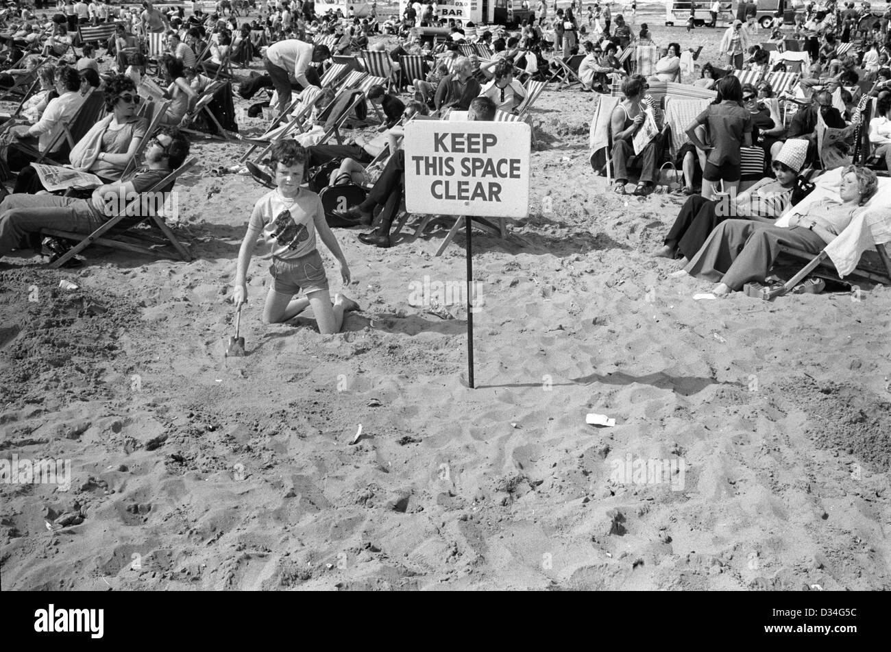Blackpool beach Lancashire 1970s  Keep This Space Clear, this was for safety and lost children could go to the space - Stock Image