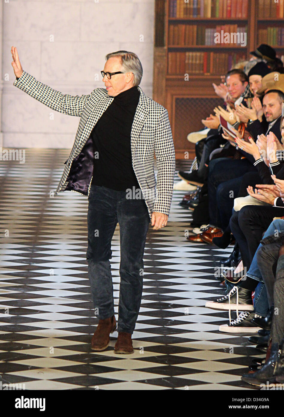 0e9ef7709 New York, USA. 8th February 2013. Designer Tommy Hilfiger waves after his  show