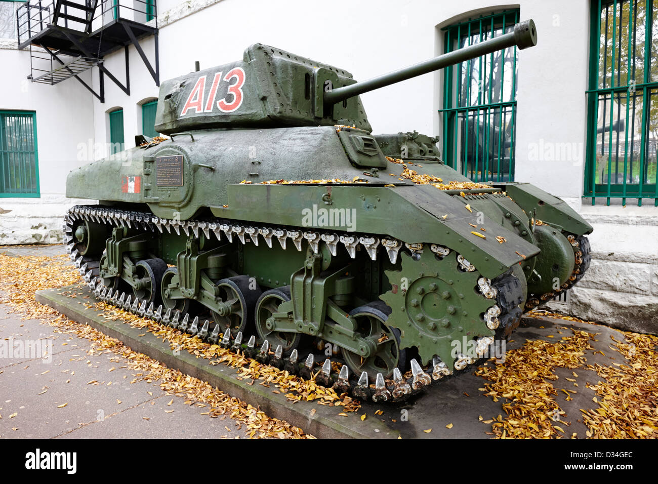 canadian made ram mkII tank on display outside Beatty Street Drill Hall regimental HQ of the British Columbia regiment - Stock Image