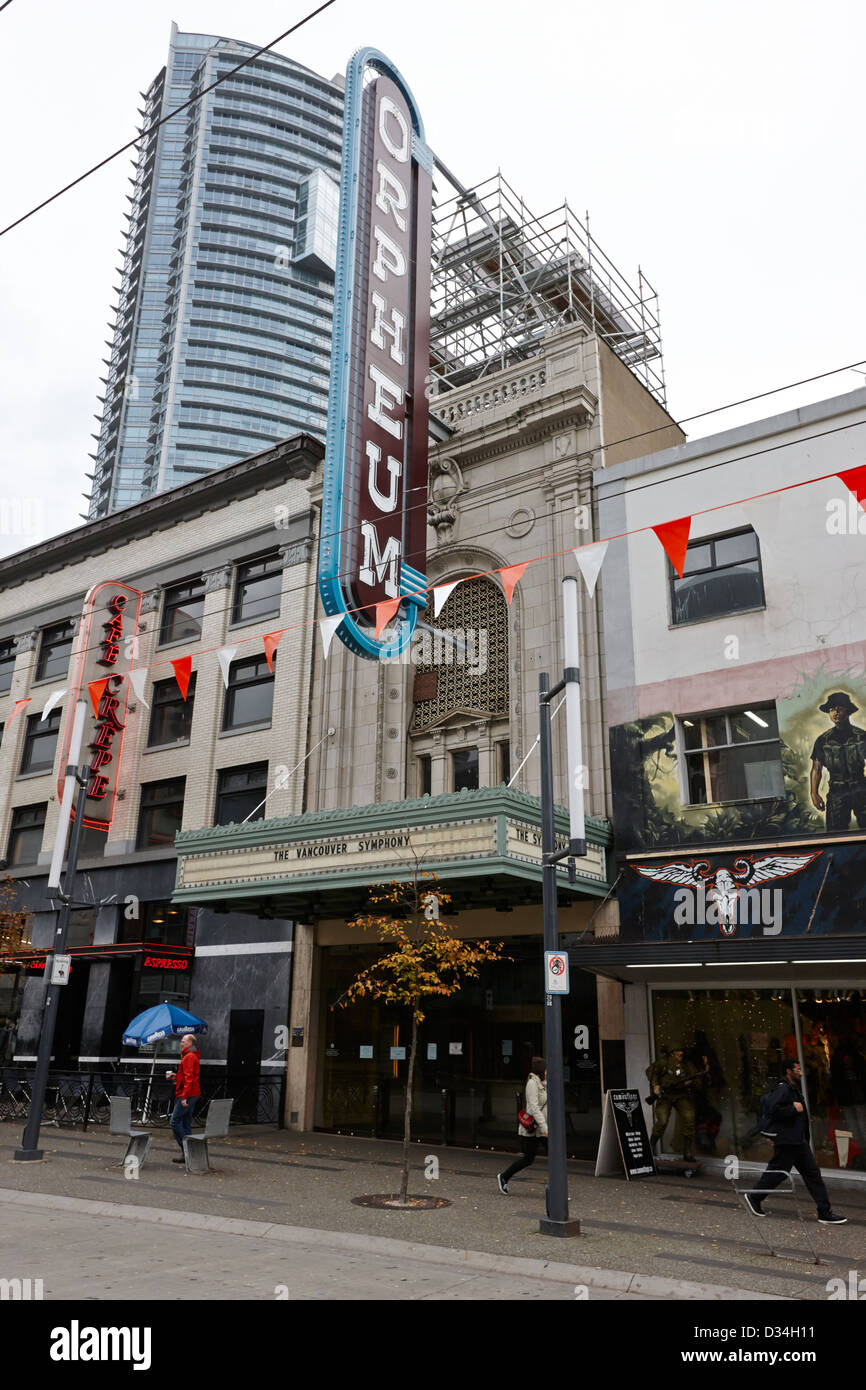 the orpheum theatre home of the vancouver symphony Vancouver BC Canada - Stock Image